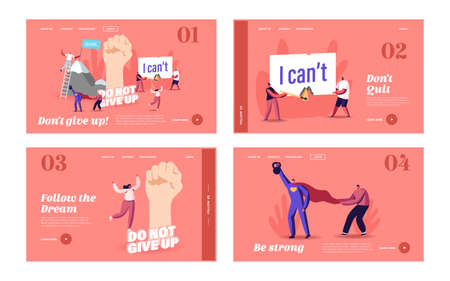 Motivation, Aspiration Landing Page Template Set. Tiny Characters Overcome Obstacles, Climbing on Rock, Goal Achievement