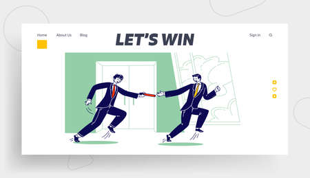 Leadership, Teamwork Goal Achievement, Corporate Team Competition Landing Page Template. Business Men Relay Race Illustration