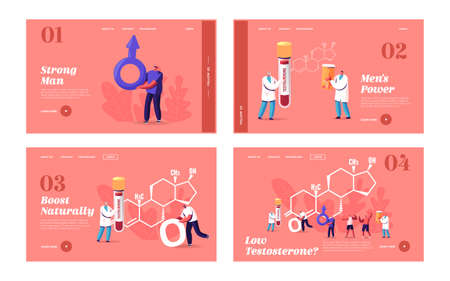 Male Health Landing Page Template Set. Tiny Characters Patients and Doctor with Blood Test at Huge Testosterone Formula Illusztráció