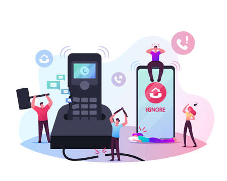 Tiny Male Characters Destroying Huge Telephone. People Ignoring Incoming Calls Trying to Avoid Unpleasant Conversation