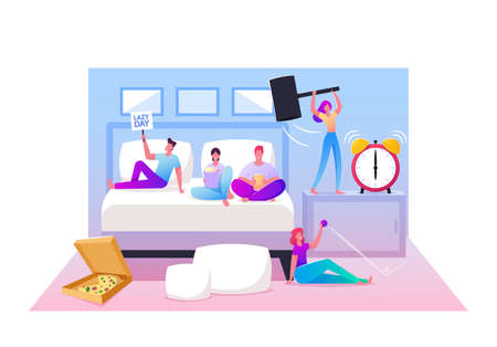 Lazy Weekend Concept. Male and Female Characters Lying on Bed, Relaxing at Home Watching Tv, Eating Fast Food and Pizza