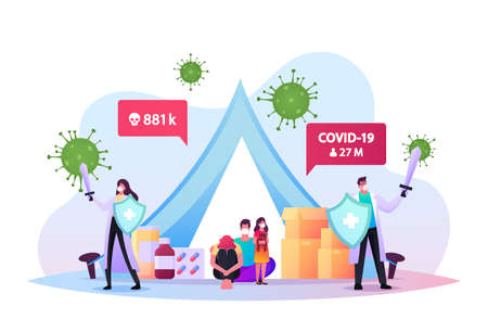 Quarantine Self Isolation Concept. Doctors with Swords Protect Family in Masks Sitting in Tent with Pills during Covid19