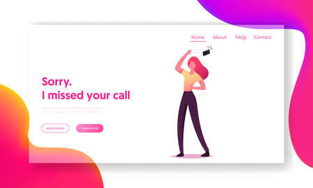 Stalking or Bullying with Phone Landing Page Template. Woman Throw Out Phone Ignoring Call from Anonymous or Boyfriend Illustration