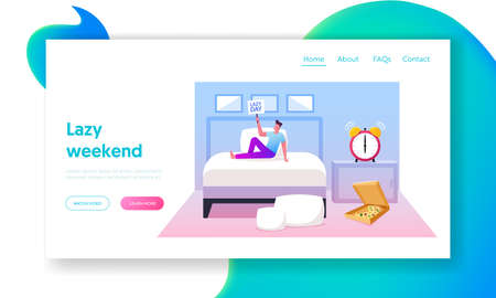Leisure, Lazy Weekend Sparetime, Day Off Landing Page Template.Young Man Spend Time at Home. Male Character Sit on Bed 向量圖像