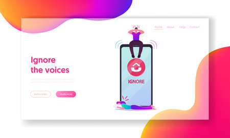 Woman Crying Suffer of Boyfriend Ignore Landing Page Template. Tiny Male Character Sit on Huge Smartphone Ignoring Call