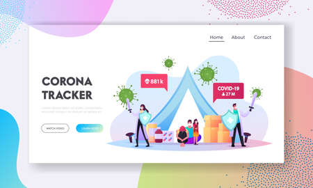 Quarantine Self Isolation Landing Page Template. Doctors with Swords Protect Family in Medical Masks Sitting in Tent