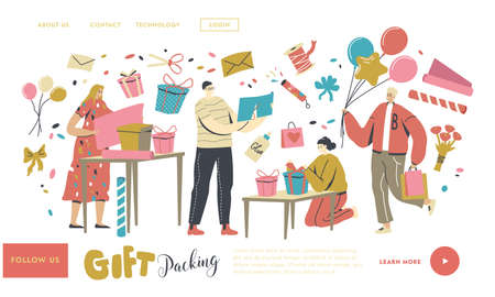 Characters Making and Packing Gift for Holidays Celebration, Landing Page Template. Warm Birthday Congratulations