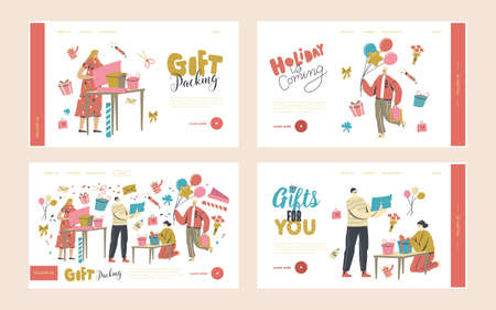 Characters Making and Packing Gift for Holidays Celebration Landing Page Template Set. Congratulations to for Birthday Vetores