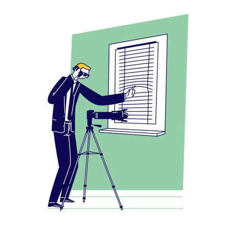 Special Agent with Professional Photo Camera Surveillance. Man in Dark Formal Wear Looking in Window. Secret Service Vektorgrafik