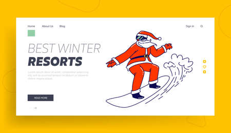 Santa Claus Character Riding Snowboard Landing Page Template. Father Noel in Sunglasses, Costume Perform Extreme Stunt