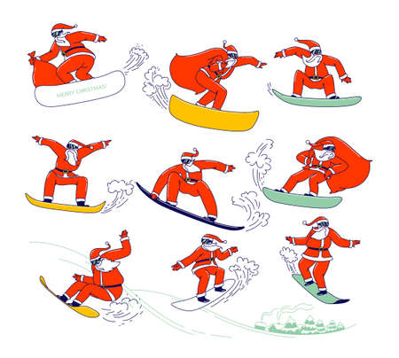 Set of Santa Claus in Red Festive Costume Perform Stunts on Snowboard. Christmas Characters with Gift Bags Snowboarding