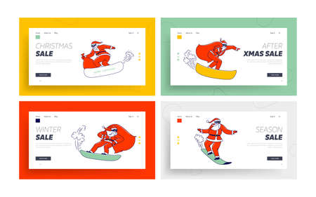 Santa Claus in Red Costume Perform Stunts on Snowboard Landing Page Template Set. Christmas Characters with Gift Bags