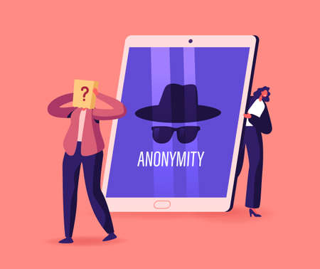 Anonymity, Tiny Female Character Hiding Behind of Huge Tablet Pc Digital Device with Anonymous Unrecognizable Profile Ilustrace