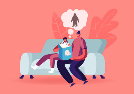 Mother and Daughter Characters Sitting on Couch at Home Reading Book about Fantasy Fairy tale Yeti or Bigfoot Monster Ilustrace