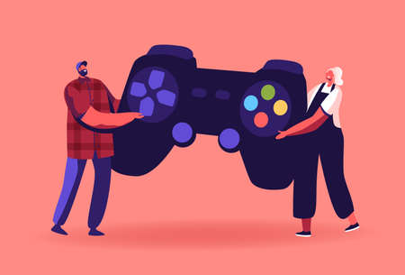 Tiny Male and Female Characters Playing Videogame. Man and Woman Gamers with Huge Gamepad Playing Video Game Concept
