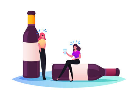 Female Characters with Hangover Syndrome Sit on Empty Alcohol Bottles after Party Celebration or Drinking Bout with Friends Stock Illustratie