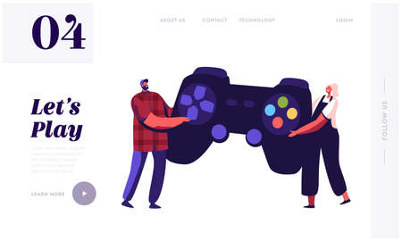 Tiny Characters Playing Videogame.Landing Page Template. Man and Woman Gamers with Huge Gamepad Playing Video Game Ilustrace