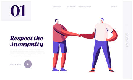 Anonymity, Hypocrisy and Identity Landing Page Template. Anonymous Characters with Question Instead of Face Shaking Hand