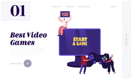 Video Games, Gaming Entertainment Recreation, Hobby Landing Page Template. Tiny Characters Playing Videogames at Huge Pc Ilustrace