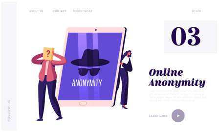 Anonymity Landing Page Template. Tiny Female Character at Huge Tablet Pc Device with Anonymous Unrecognizable Profile