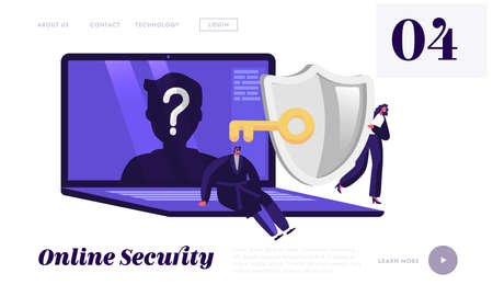 Online Anonymity Landing Page Template. Tiny Characters at Huge Device with Anonymous Unrecognizable Profile and Key