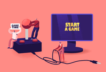 Video Games Recreation, Gaming Addiction, Hobby Concept. Tiny Male and Female Gamers Characters Playing Videogames on Pc Ilustrace