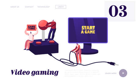 Video Games Recreation, Gaming Addiction, Hobby Landing Page Template. Tiny Gamers Playing Videogames at Huge Console
