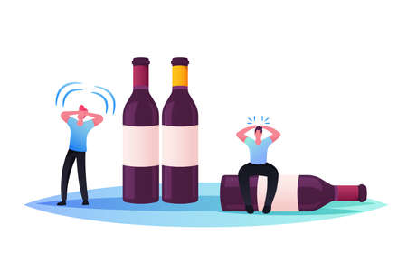 Drunk Men Hangover Syndrome, Alcohol Addiction. Tiny Male Characters Sit on Huge Bottles. Pernicious Habits Addiction Ilustrace