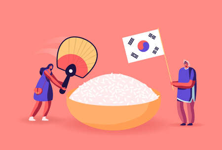 Characters Eating Korean Food. Man Holding National Flag of Korea, Woman with Fan Stand near Huge Bowl with White Rice.