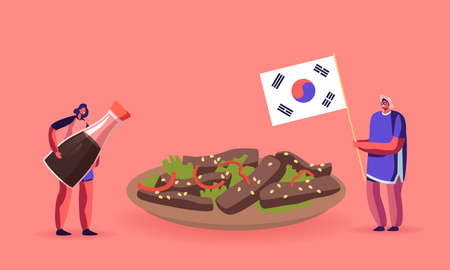 Characters Eating Korean Food Concept. Man Holding Flag of Korea, Woman with Soy Sauce near Huge Bowl with Roasted Meat.