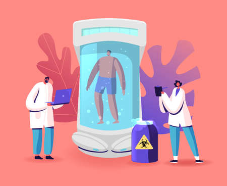 Cryonics Technology, Cryoconservation Scientific Investigation Concept. Scientists Stand at Capsule with Frozen Body