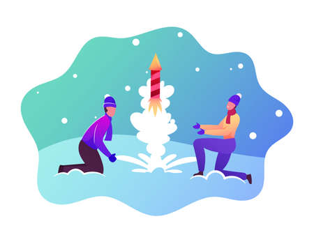 Festive Recreation, Firework Show. Happy Couple Characters Wear Winter Clothes Burning and Launch Petard or Fireworks Ilustrace