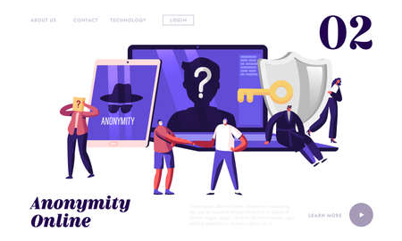 Internet Privacy, Information Private Protection Landing Page Template. Tiny Characters at Huge Laptop and Tablet Device Ilustrace