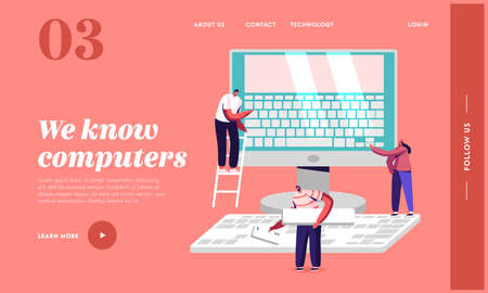People Typing, Office Work, Education or Technology Landing Page Template. Tiny Characters at Huge Monitor with Keyboard