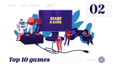 Video Games Recreation, Hobby Landing Page Template. Tiny Characters with Huge Gamepad and Joystick Playing Videogame