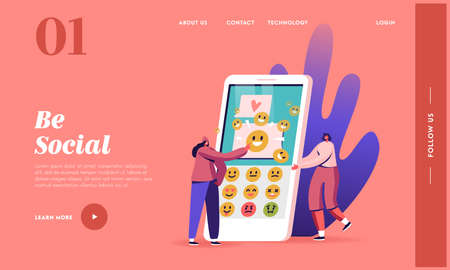 People Using Messaging App Landing Page Template. Female Characters Sending Text Messages by Mobile Phone. Sms and Emoji Ilustrace