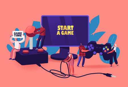 Video Games Recreation, Hobby Concept. Tiny Male and Female Characters with Huge Gamepad and Joystick Playing Videogames Ilustrace