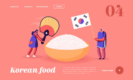 Characters Eating Korean Food Landing Page Template. Man Holding Flag of Korea, Woman with Fan near Huge Bowl with Rice