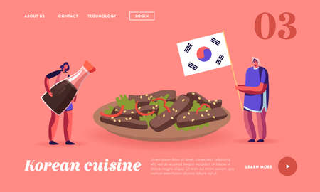 Characters Eating Korean Food Landing Page Template. Man Holding Flag of Korea, Woman with Soy Sauce near Huge Bowl Ilustrace