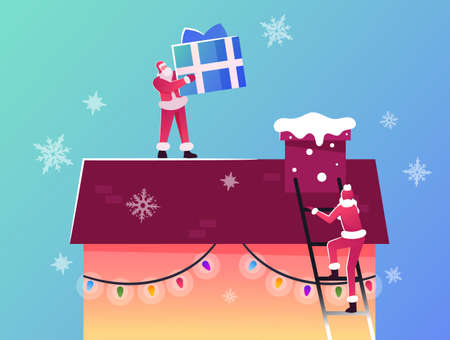 Merry Christmas and Happy New Year Winter Holidays Greetings. Santa Claus Characters Climbing by Ladder on House Roof