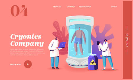 Cryonics Technology, Cryoconservation Landing Page Template. Scientists Characters at Capsule with Frozen Human Body