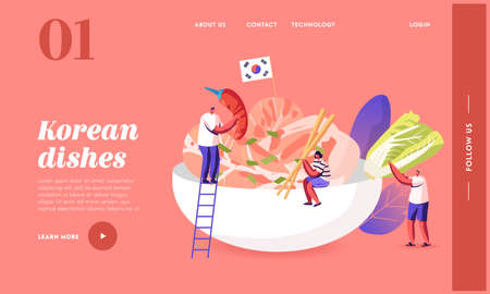 Characters Eating, Cooking Traditional Korean Cuisine Landing Page Template. People with Chili Pepper, Sticks and Salad