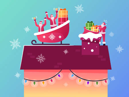 Santa Claus Characters Sitting in Sledge on House Roof Throw Gifts Way Down to Chimney. Winter Time Holidays Illustration