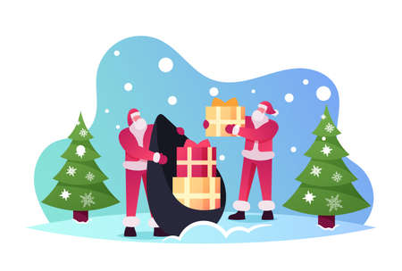 Santa Claus in Red Costume Taking Gift Boxes from Sack on Winter Background with Fir Trees. Christmas and New Year