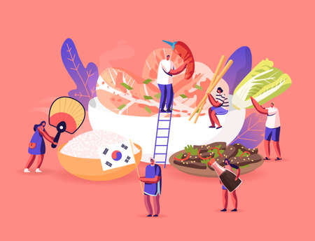 Characters Eating and Cooking Traditional Korean Cuisine Concept. People with Fan, Tourists around Huge Dish with Rice