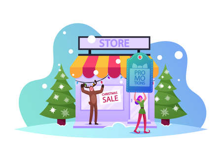 Christmas Characters Promotion Announcement, Advertising, Price Off Shopping. Elf and Reindeer Promoters Call Customers