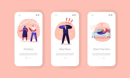 Stop Stress Mobile App Page Onboard Screen Template. Characters Need Professional Aid, People Fighting, Mental Disorder