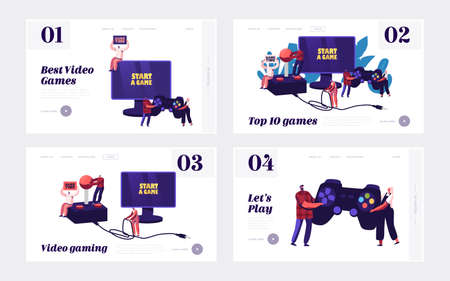 Video Games Recreation Landing Page Template Set. Tiny Characters with Huge Gamepad and Joystick Playing Videogame