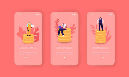 Business Consulting Mobile App Page Onboard Screen Template. Tiny Male Characters on Huge Pile of Golden Coins