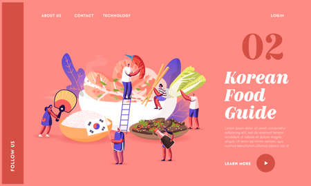 Characters Eating and Cooking Korean Cuisine Landing Page Template. People with National Fan, Tourists around Huge Dish